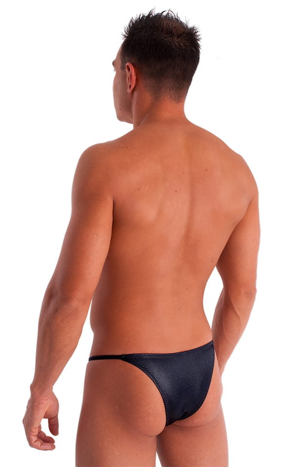 Adjustable to Micro Pouch Tanning Bikini in Wet Look Black 4