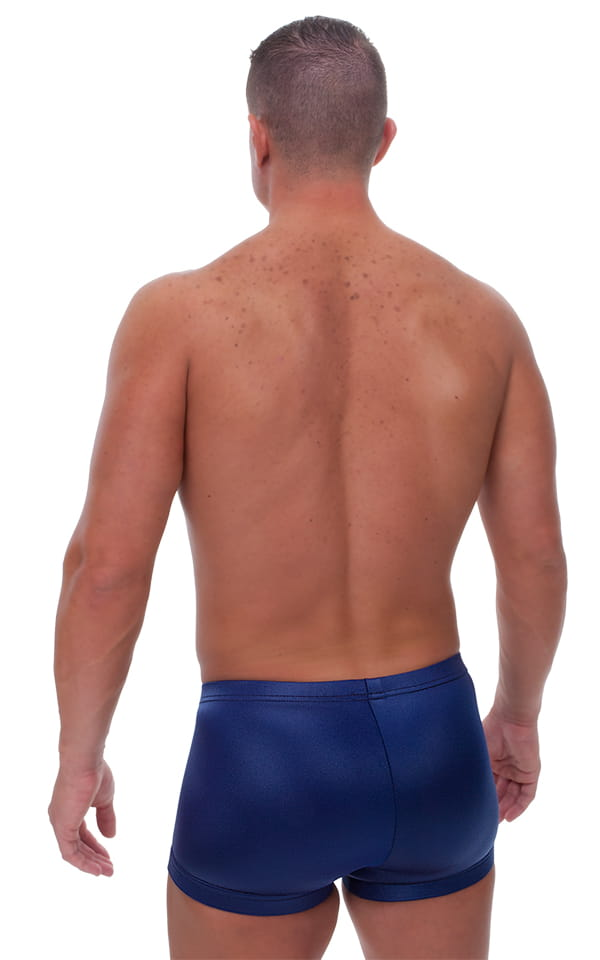 Fitted Pouch - Square Cut - Watersports Swim Trunks in Wet Look Navy Blue 3