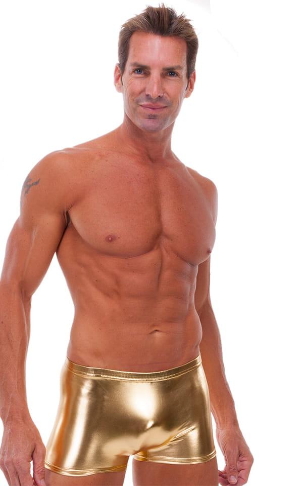 f8674c3d21 Square Cut Seamless Swim Trunks in Liquid Gold | Skinzwear.com