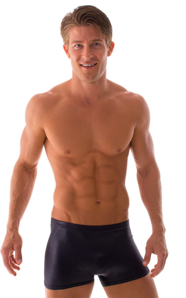 10c1161ac84 Square Cut Seamless Swim Trunks in Wet Look Black   Skinzwear.com