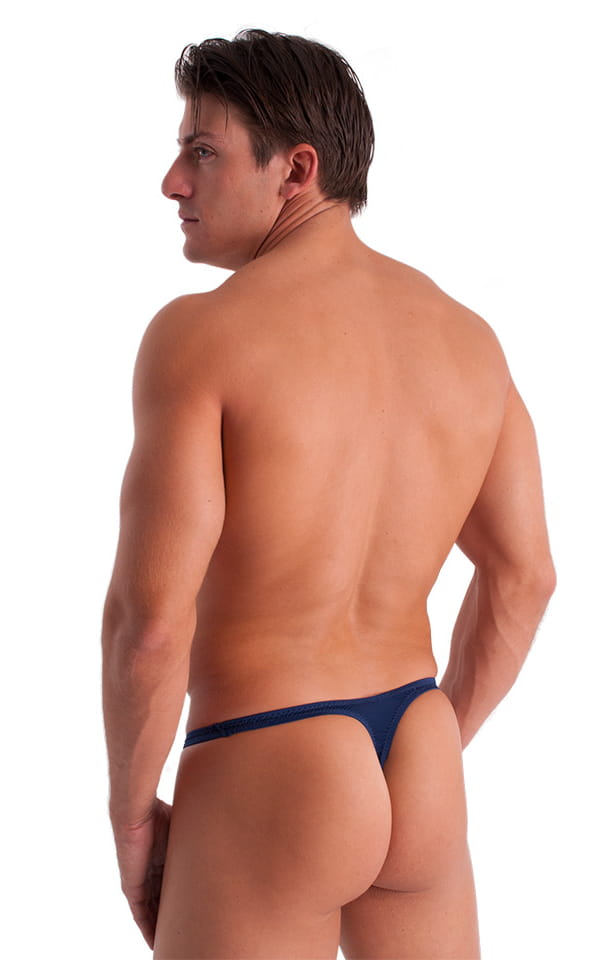 T Back Thong Swimsuit - Bravura Pouch in Semi Sheer ThinSKINZ Navy Blue 3