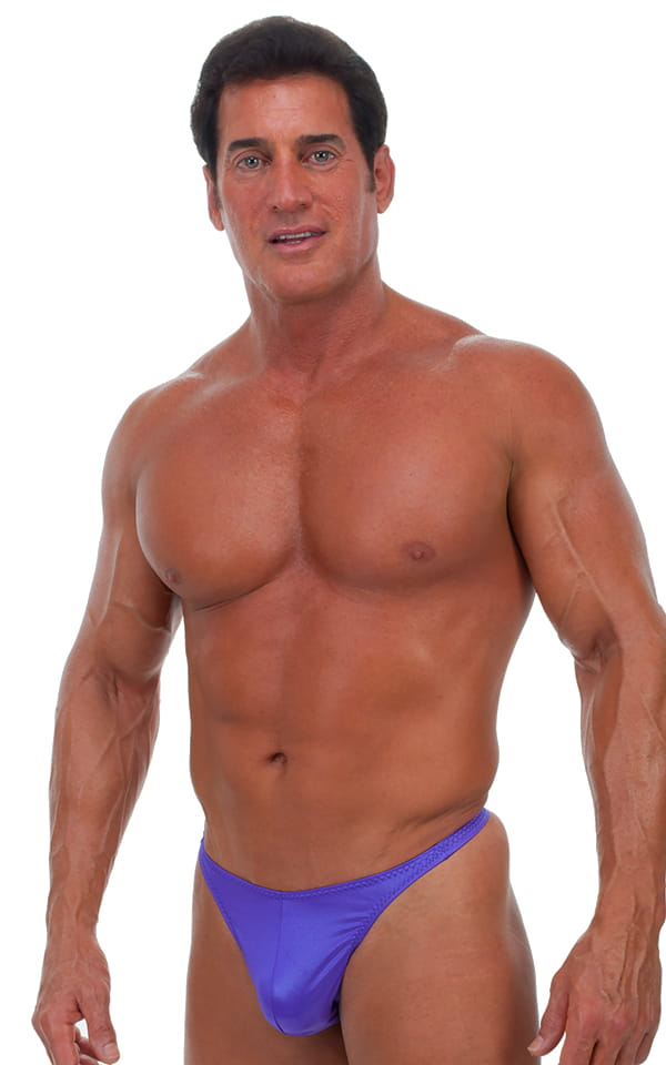Swimsuit Thong in Wet Look Purple 1