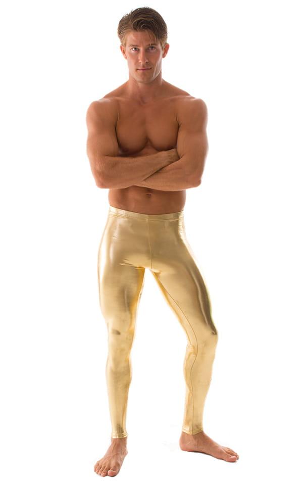 Mens Leggings Tights in Metallic Liquid Gold 1