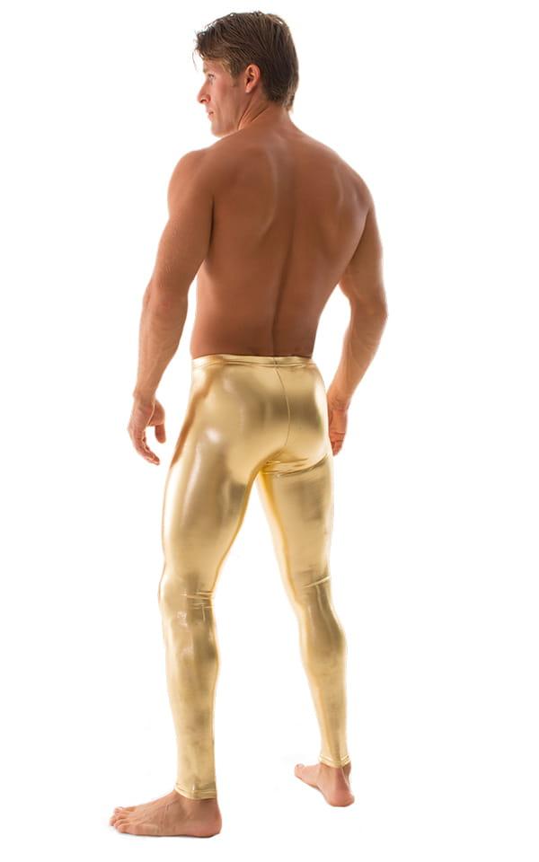 Mens Leggings Tights in Metallic Liquid Gold 3