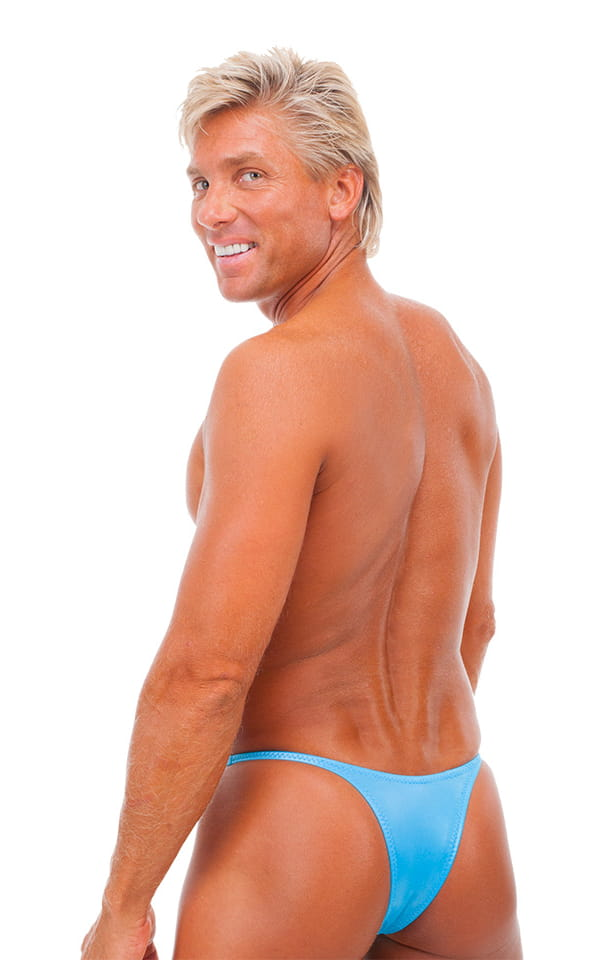 Sunseeker Micro Pouch Half Back Bikini in Wet Look Turquoise 3