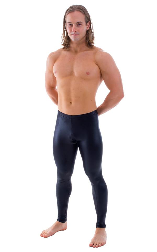 Mens Leggings Tights in Wet Look Black 1