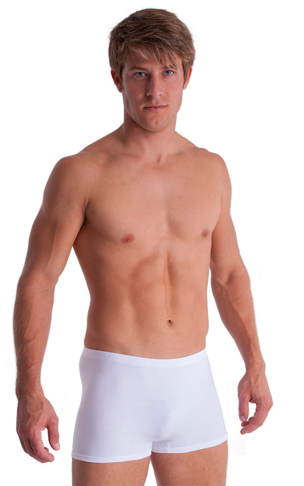 3-Pack - Boxer Length Underwear in White cotton/lycra 1