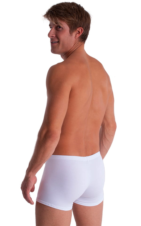 3-Pack - Boxer Length Underwear in White cotton/lycra 3