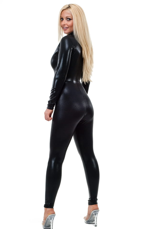 Back Zipper Catsuit-Bodysuit in Mystique Black on Black 3