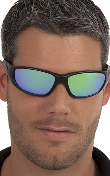 0592654998 Peppers Floating Polarized Sunglasses Forward Revo Green Mirror Black  Frames