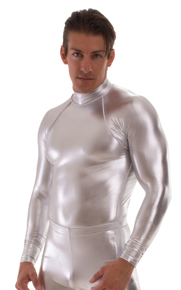 Swim Skin Rash Guard in Chrome Metallic Silver 3