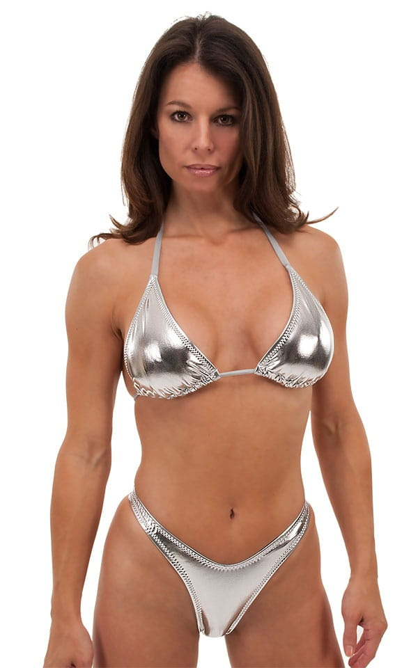 Womens Posing Suit Narrow Back in Liquid Silver 1