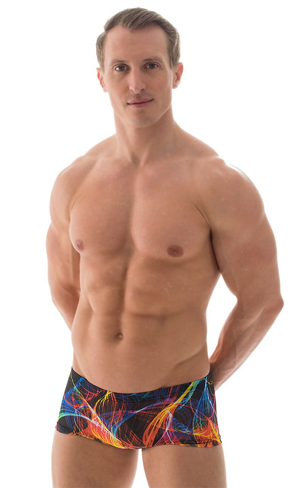 Extreme Low Square Cut Swim Trunks in Tan Through RaveUp 4