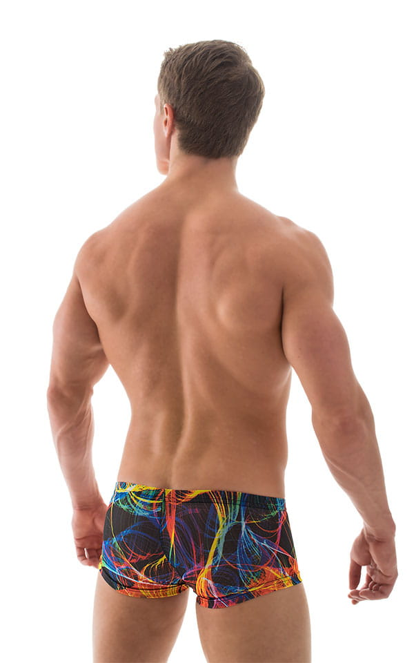 Extreme Low Square Cut Swim Trunks in Tan Through RaveUp 5