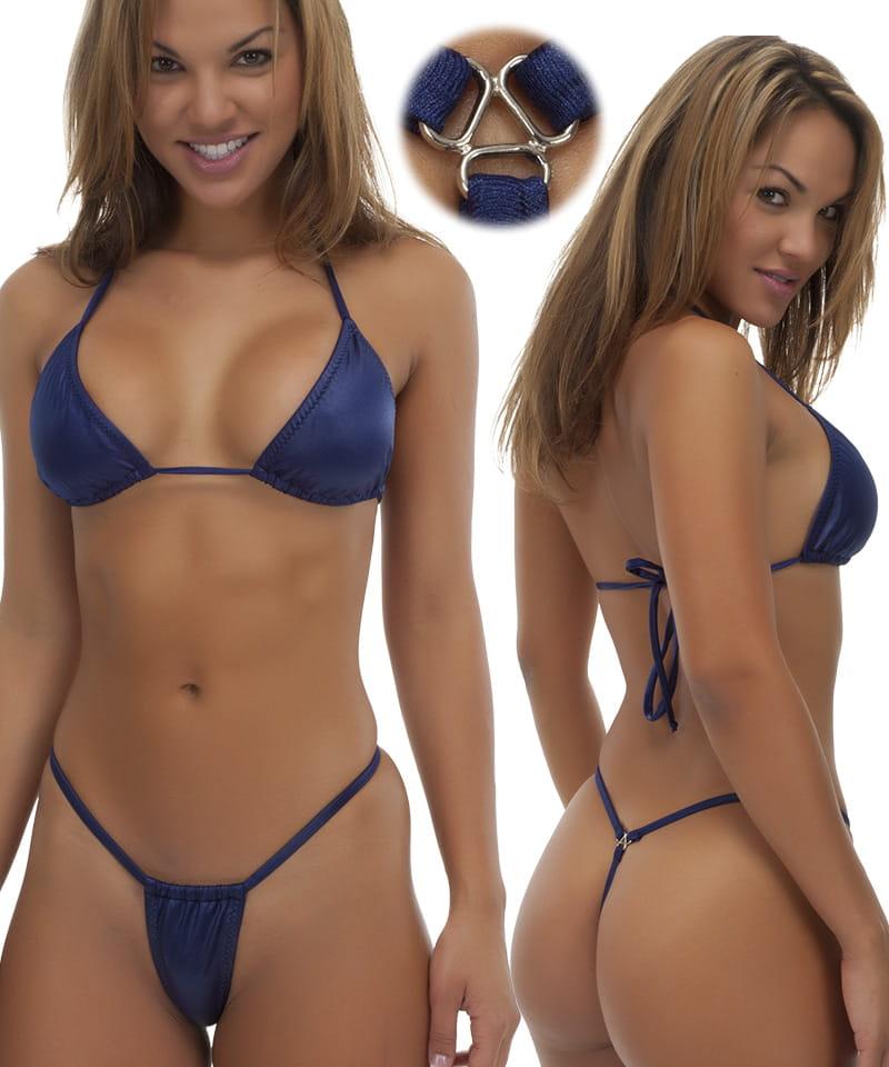Womens Adjustable G String Swimsuit Bottom in Dark Navy