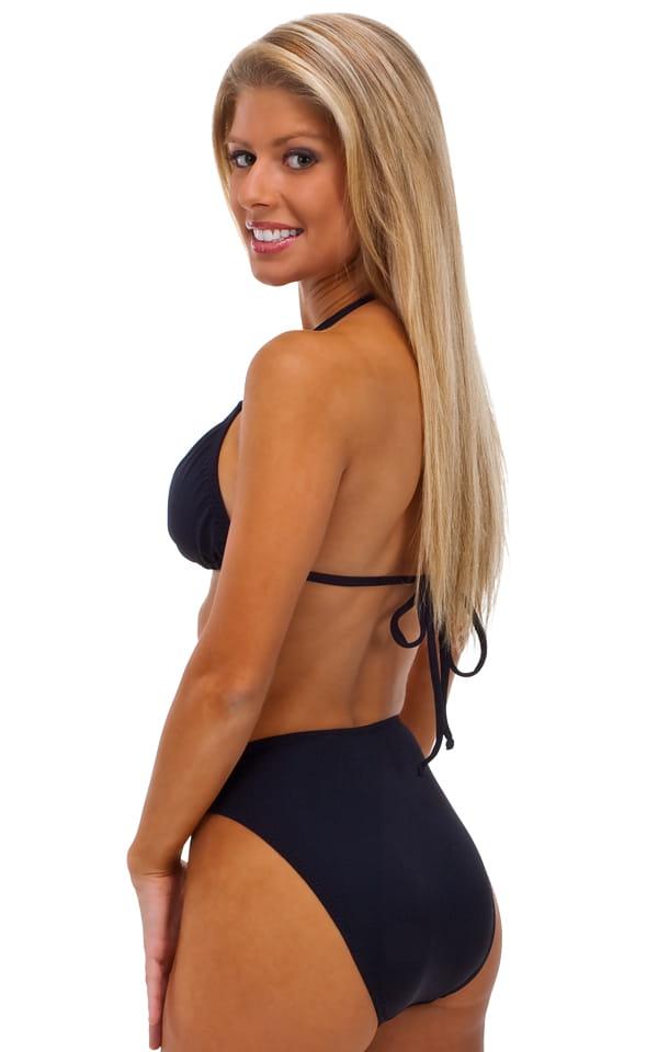 Womens Full Cut High Waist Swimsuit Bottom in Black 3
