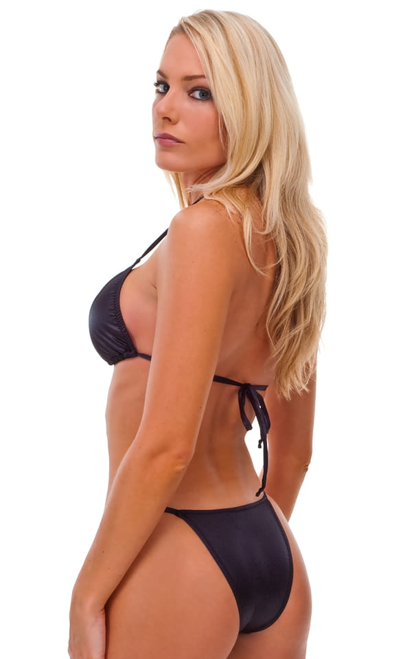 Womens Skinny Side Brazilian Swimsuit Bottom in Red & White Stripes 6