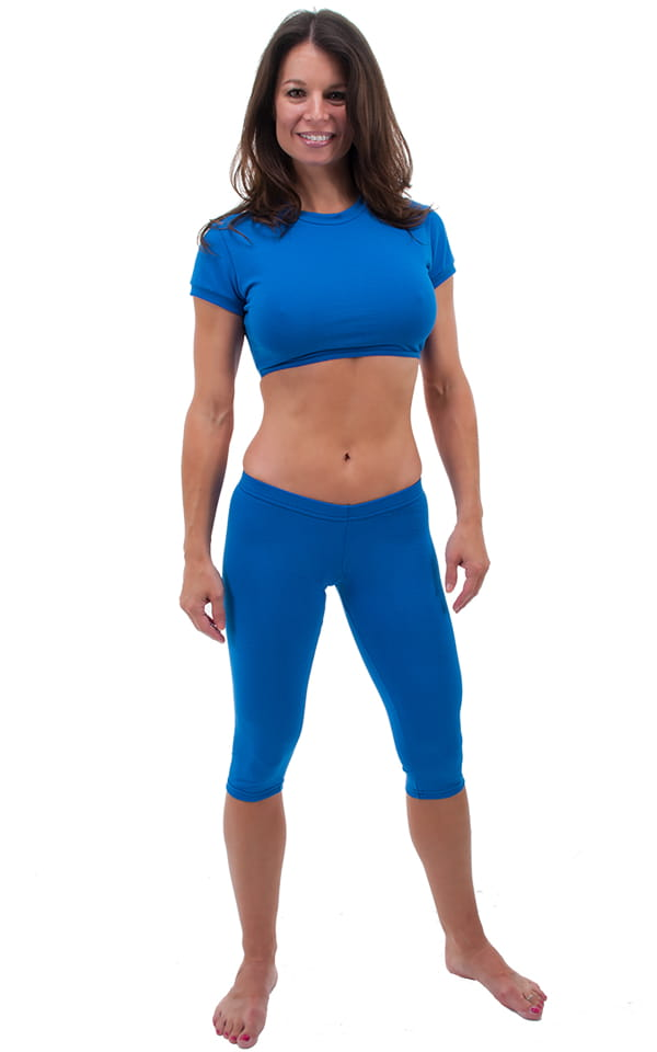SUPER Low Capri Leggings in Royal Blue Cotton/Lycra by Skinz