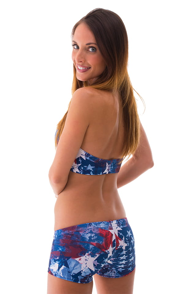 Womens Sport Halter Top in American Flag Collage 3