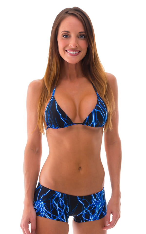 Brazilian Triangle Swim Top in Laser Blue Lightning 1