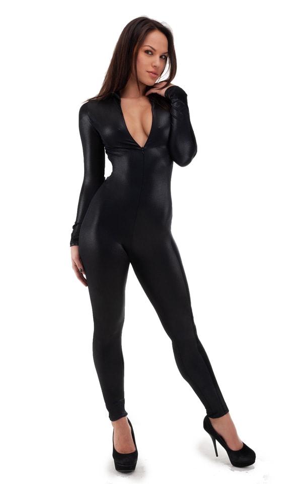 Front Zipper Catsuit-Bodysuit in Wet Look Black Tricot/nylon/lycra