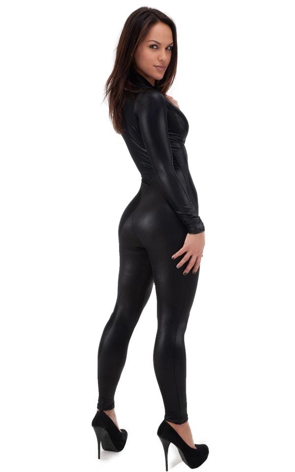 Front Zipper Catsuit-Bodysuit for Women in Wet Look Black 3