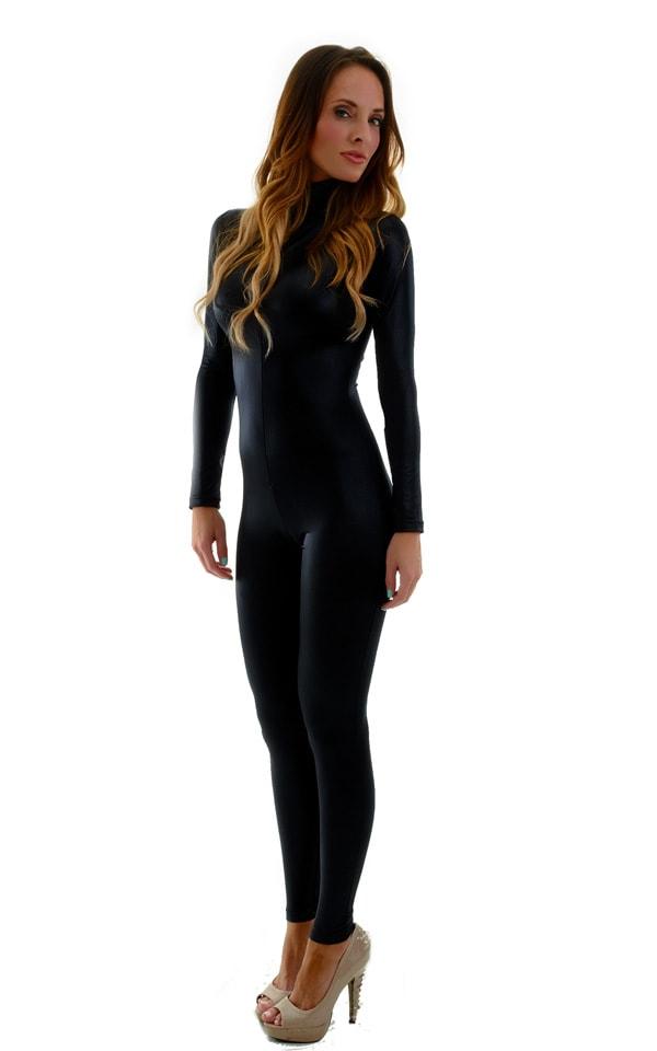 Front Zipper Catsuit-Bodysuit for Women in Wet Look Black 5
