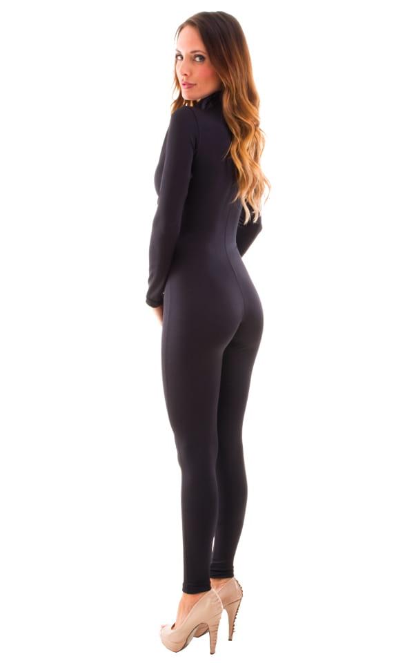 Front Zipper Catsuit-Bodysuit for Women in Black 3