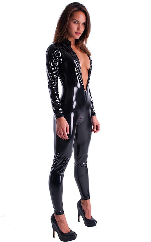 Front Zipper Catsuit-Bodysuit in Black Superstretch Vinyl/Lycra 3