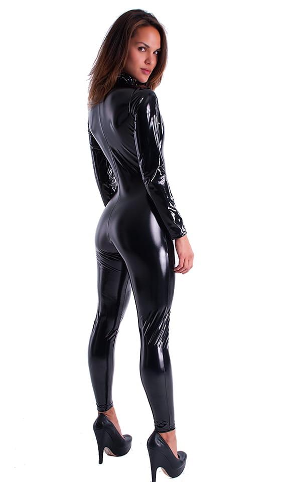 Front Zipper Catsuit-Bodysuit in Black Superstretch Vinyl/Lycra 4