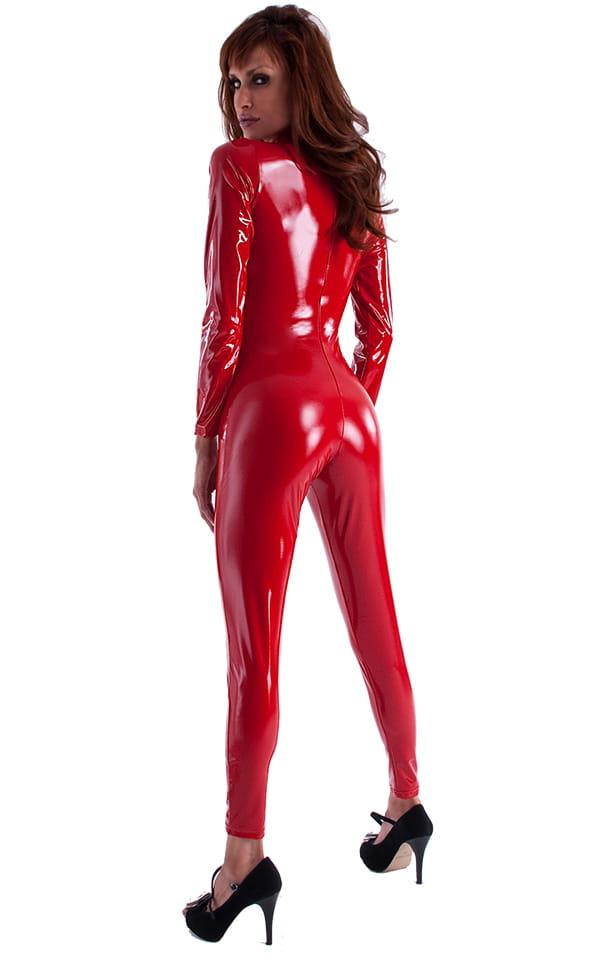 Front Zipper Catsuit-Bodysuit in Red Superstretch Vinyl/Lycra 3