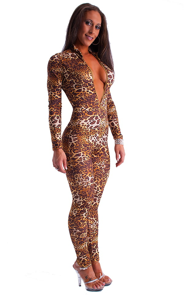 Front Zipper Catsuit-Bodysuit in Jungle Kat 3