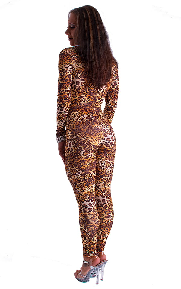 Front Zipper Catsuit-Bodysuit in Jungle Kat 4