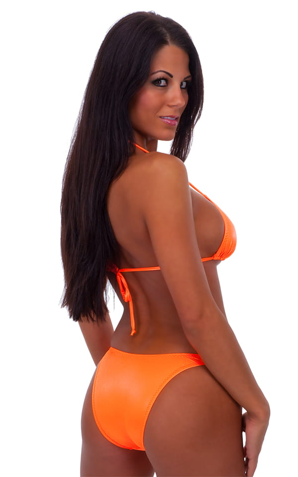 Womens High Cut Brazilian Swim Suit bottom in Neon Orange 3