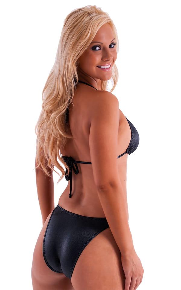 Womens High Cut Brazilian Swim Suit bottom in Wet Look Black 3