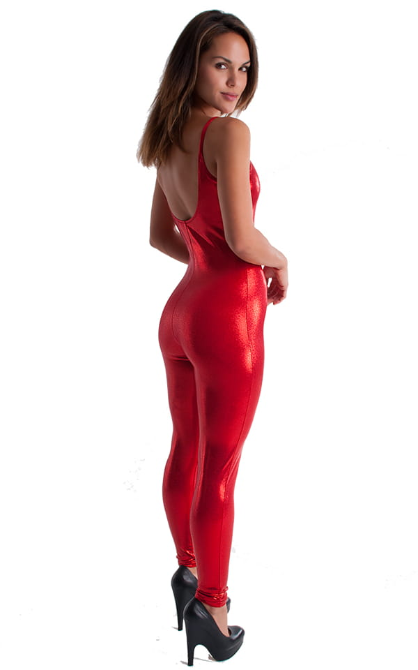 CamiCat-Catsuit-Bodysuit in Metallic Mystique Volcano Red 3