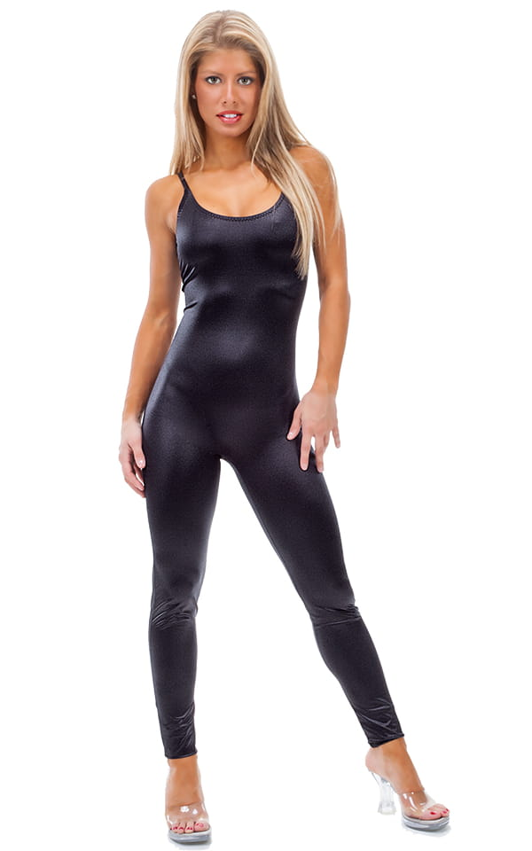 CamiCat-Catsuit-Bodysuit in Wet Look Black tricot nylon/lycra 1