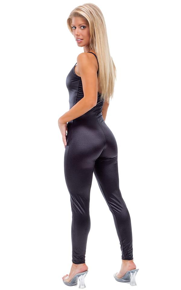 CamiCat-Catsuit-Bodysuit in Wet Look Black tricot nylon/lycra 3