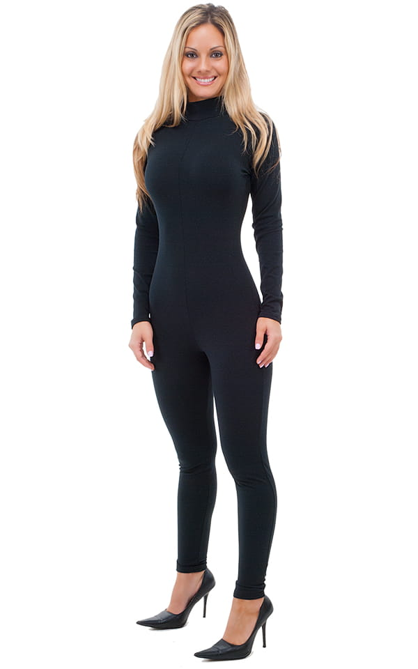 Back Zipper Catsuit-Bodysuit in Black cotton/lycra 1