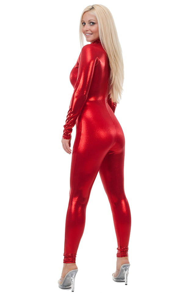Back Zipper Catsuit-Bodysuit in Mystique Volcano Red 3