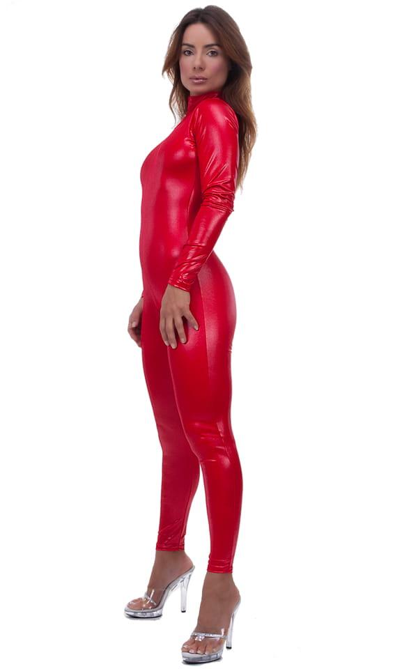 Back Zipper Catsuit-Bodysuit in Wet Look Lipstick Red 1