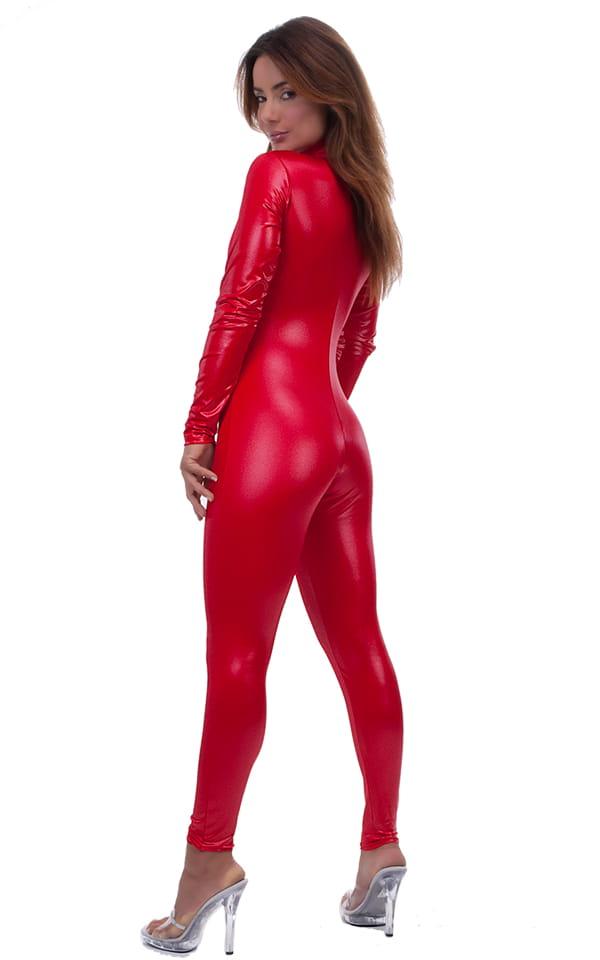Back Zipper Catsuit-Bodysuit in Wet Look Lipstick Red 3