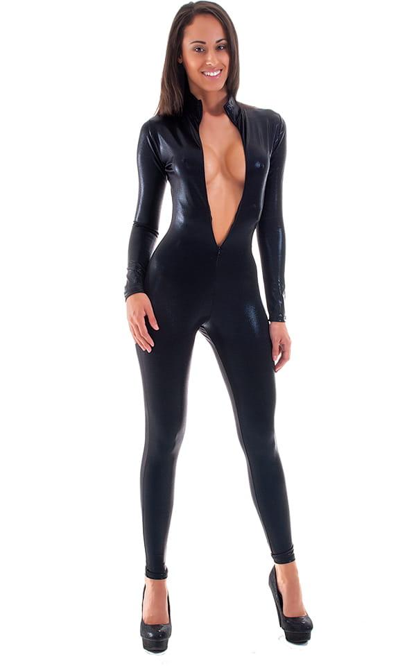 Front Zipper Catsuit-Bodysuit in Mystique Black on Black 1