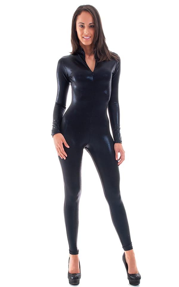 Front Zipper Catsuit-Bodysuit in Mystique Black on Black 3