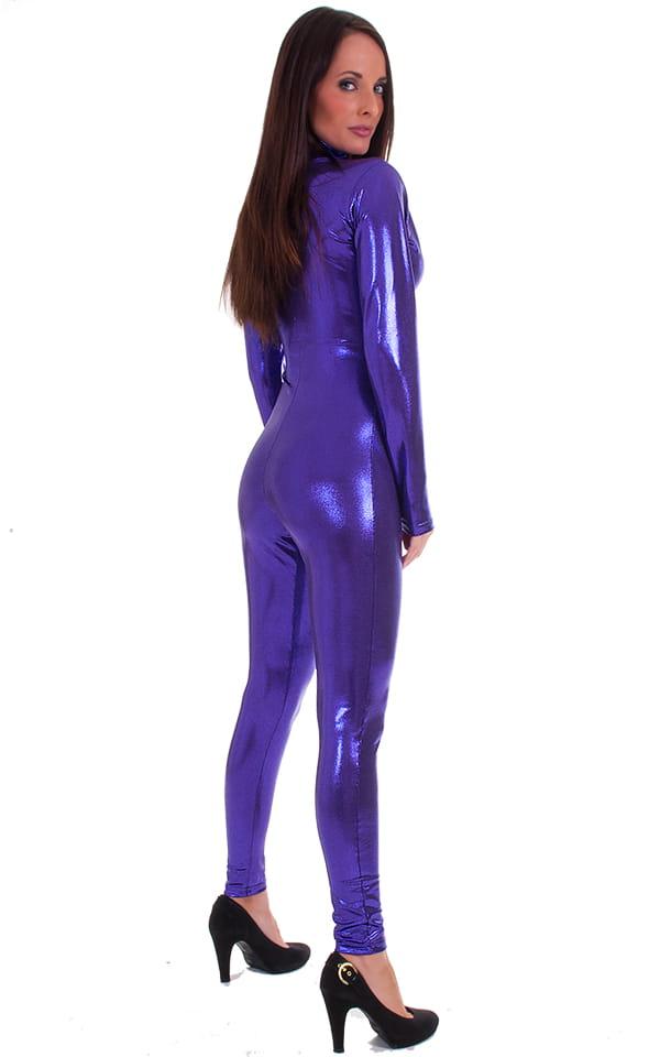 Front Zipper Catsuit-Bodysuit in Metallic Mystique Purple/Eggplant 3