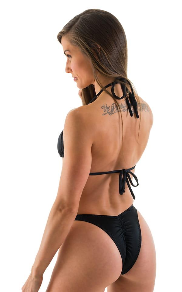 High Cut - Half Back - Scrunchie Swimsuit Bottom in Black 3