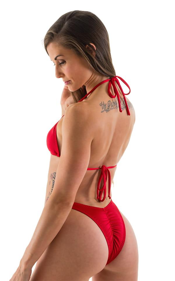 High Cut - Half Back - Scrunchie Swimsuit Bottom in Lipstick Red 3