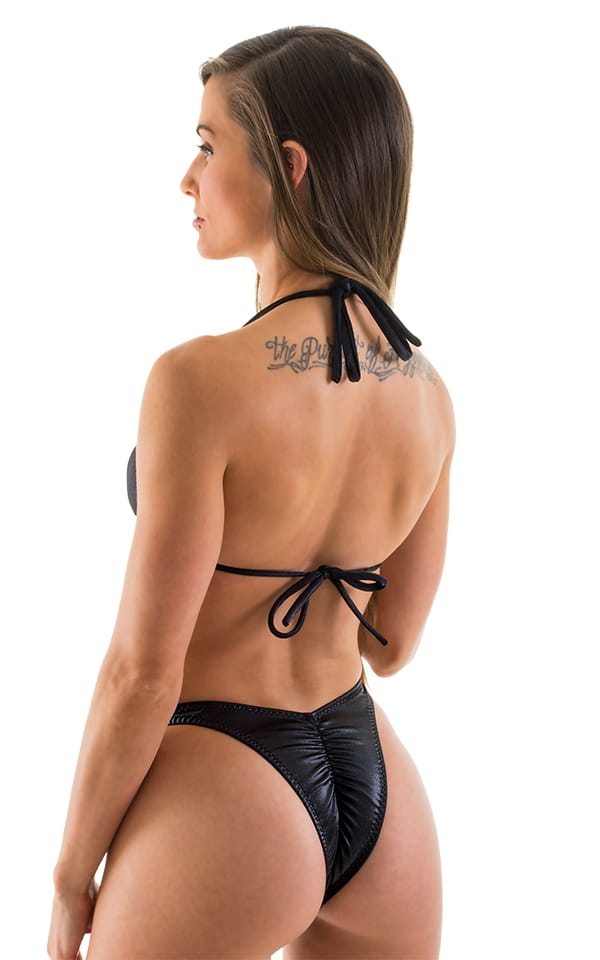 Womens Posing Suit - High Cut - Half Back - Scrunchie in Wet Look Black Rio Cut 3