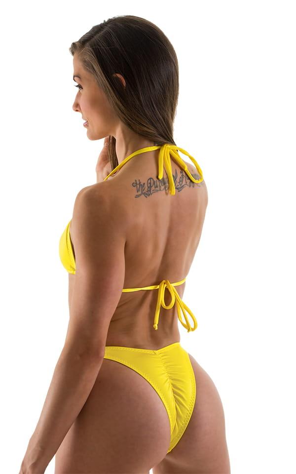 Womens Posing Suit - High Cut - Half Back - Scrunchie in Citron Rio Cut 3