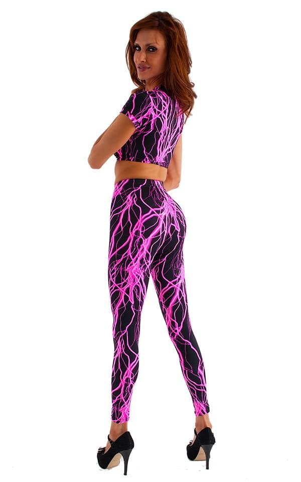 Womens Leggings - Fashion Tights in Hot Pink Lightning on Black 3